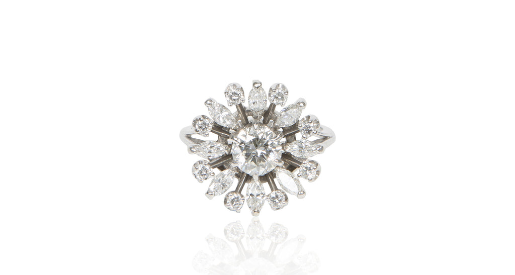 Diamond Starburst & Marquise Diamond Ring