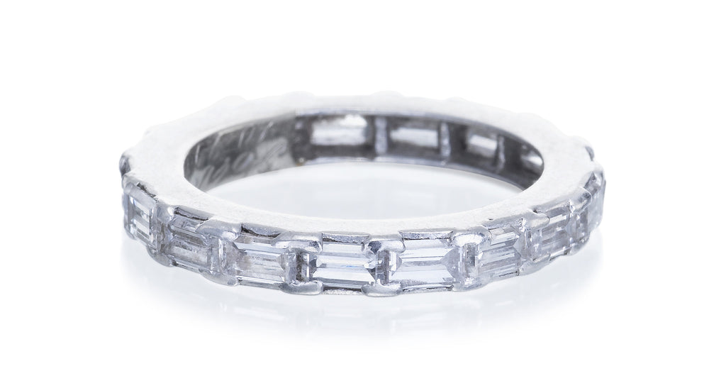 Estate Platinum & Baguette Cut Diamond Band