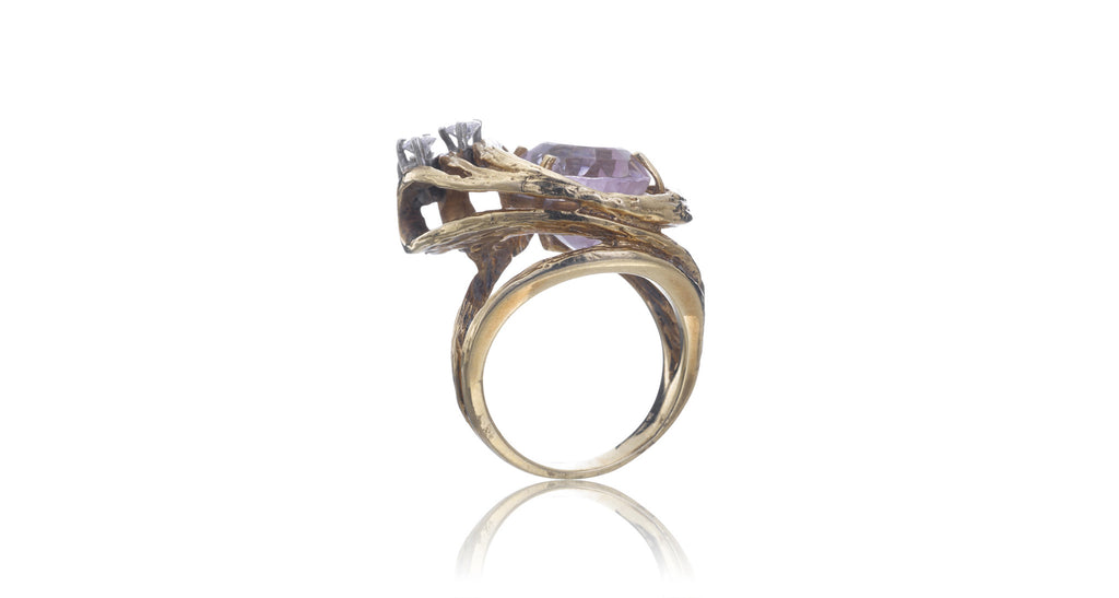 Kunzite & Diamond Ring
