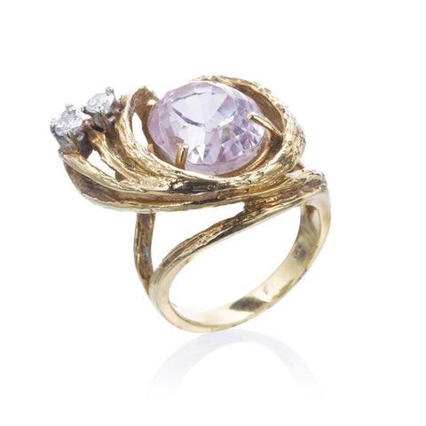Estate Kunzite & Diamond Ring
