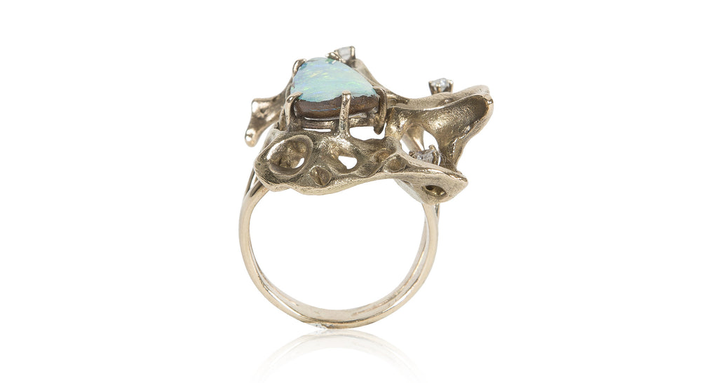 Vintage Opal & Gold 'Freeform' Ring