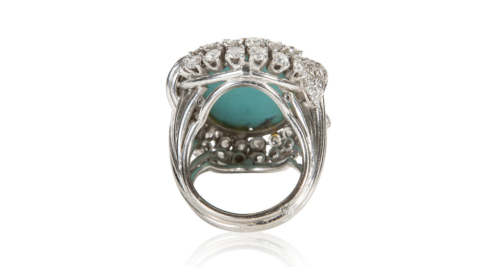 Vintage 1960s Turquoise & Diamond Ring