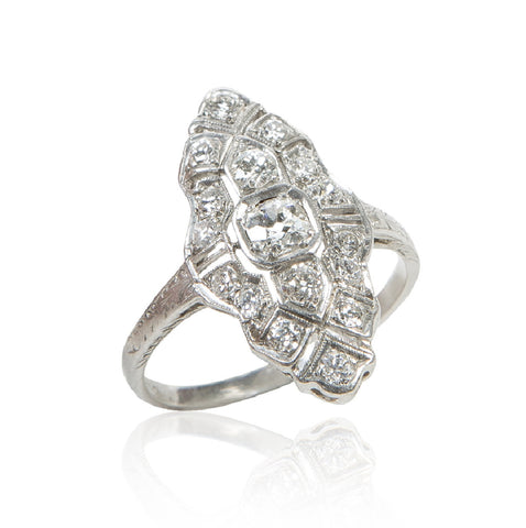 Art Deco Diamond & Platinum Marquise Navette Ring
