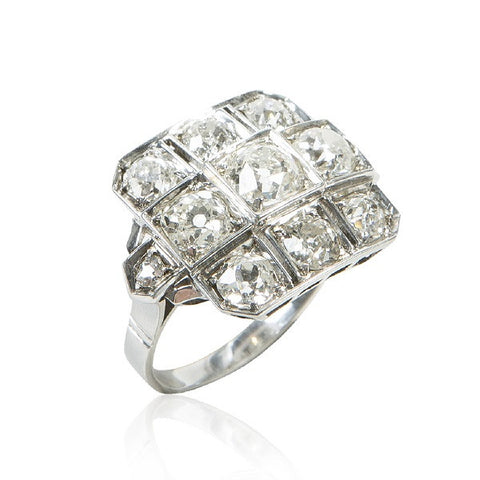 Art Deco Diamond & Platinum Square Panel Ring