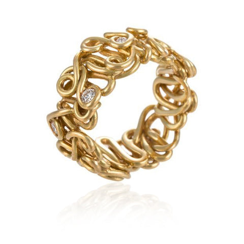 Diamond & Gold Spaghetti Ring