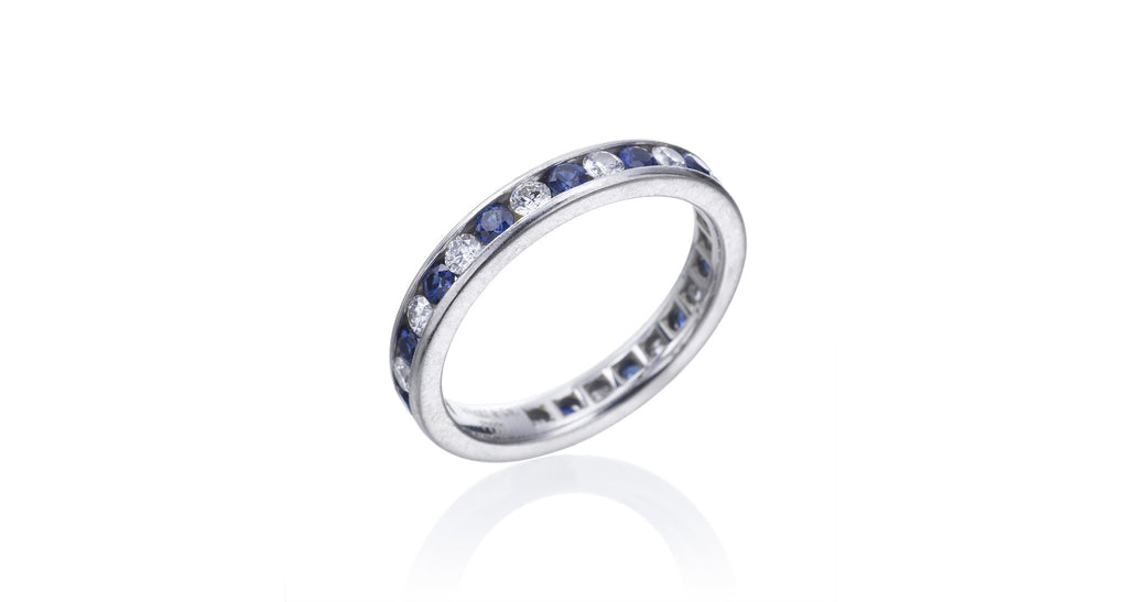 Tiffany & Co Sapphire & Diamond Platinum Ring