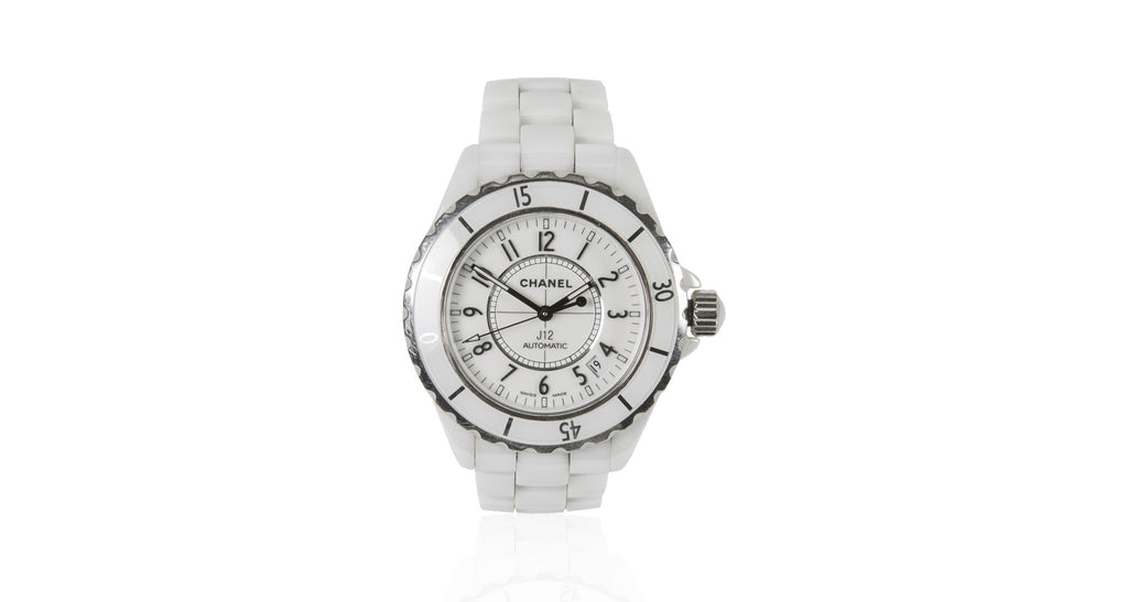 J12 White Ceramic Automatic Steel-Rimmed Watch