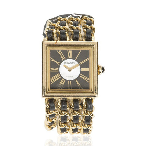 1989 18K Gold & Leather 'Mademoiselle' Watch