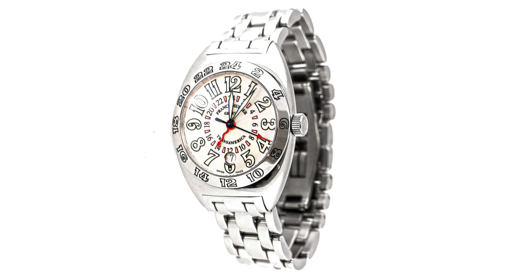 Franck Muller Transamerica 2000 WW, With Silver Guilloche Dial And Polished Stainless Steel Bracelet