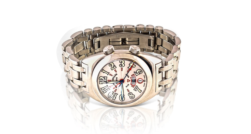 Franck Muller 2000 Big Ben Automatic Watch, With Silver Guilloche Dial & Polished Stainless Steel Bracelet