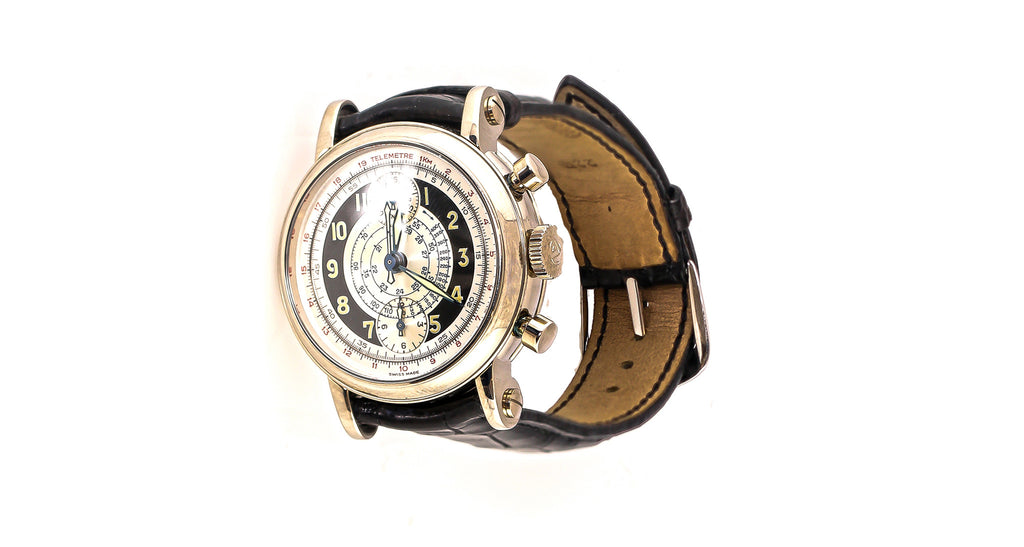 Franck Muller 7000 CC S 3645 Automatic Watch In White Gold With Dark Brown/Black Leather Band