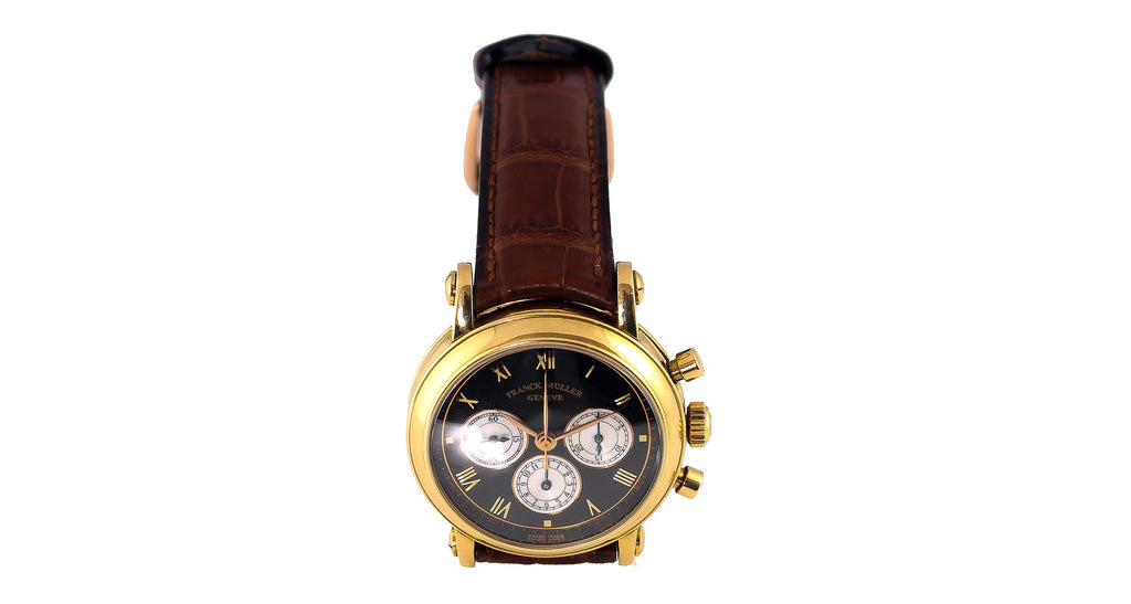 Franck Muller 3870 NA DF Yellow Gold Automatic Watch In 18K Yellow Gold With Brown Leather Strap