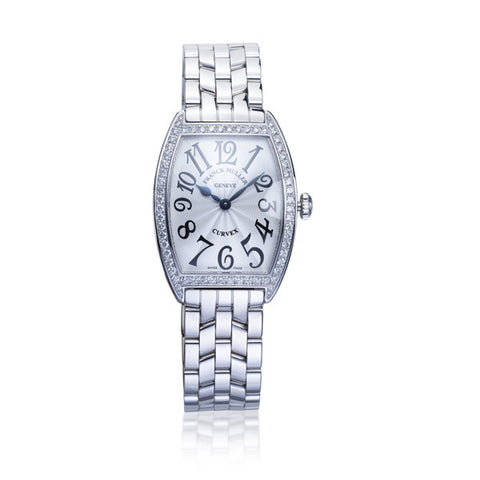 Franck Muller 'Curvex' Stainless Steel Diamond Bezel Watch