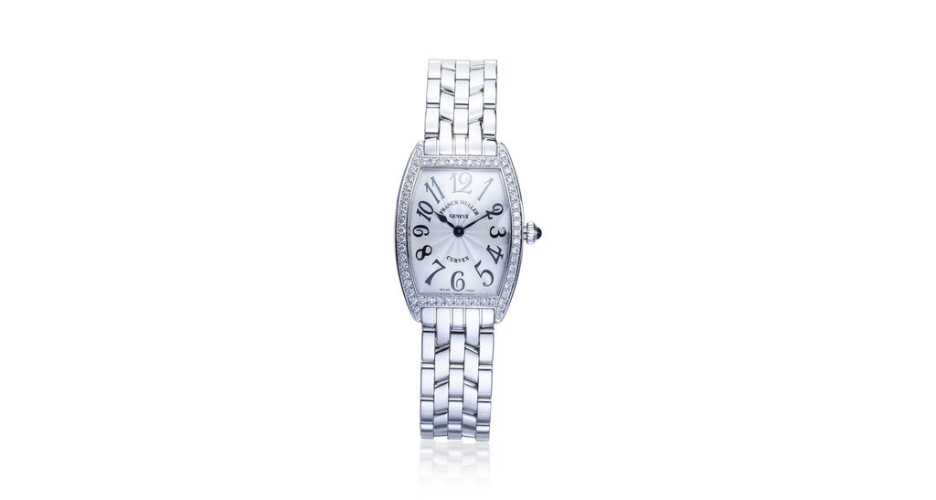 Franck Muller Curvex Stainless Steel Diamond Bezel Watch
