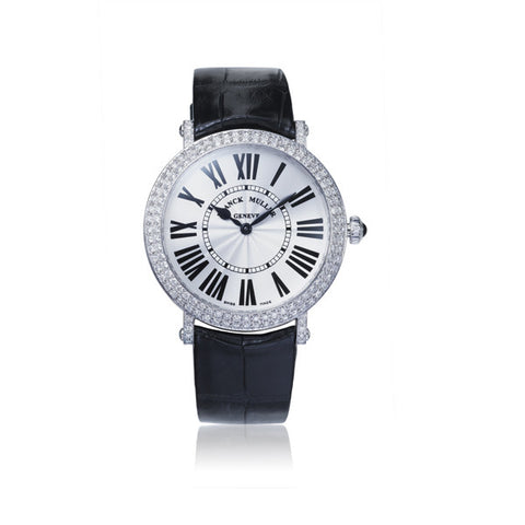 Franck Muller Round Stainless Steel Diamond Bezel Watch