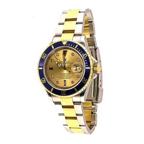 Rolex Submariner, Gold Face With Gold & Blue Bezel, Oyster Perpetual Date