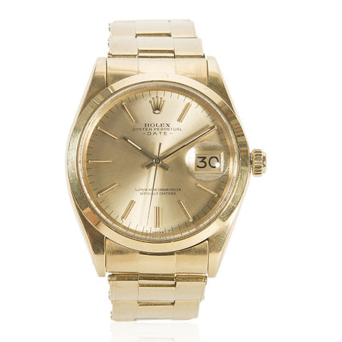 1986 Oyster Perpetual Date 18K Yellow Gold Watch