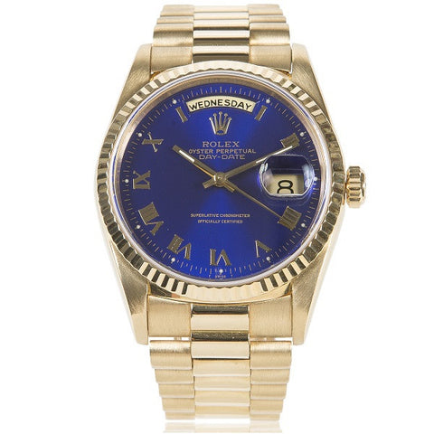 'Presidential' Oyster Perpetual Day-Date Yellow Gold, Blue Dial Watch