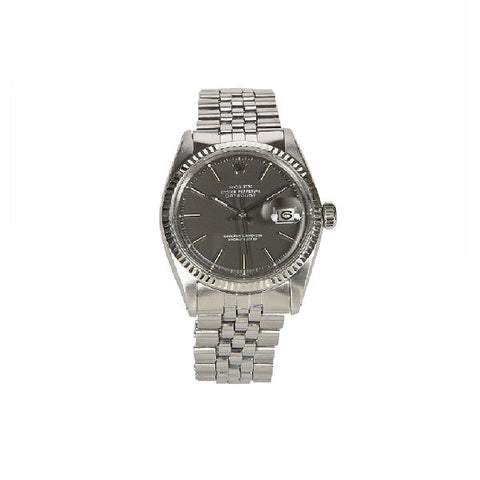Vintage 1962 Datejust 36mm Stainless Steel Jubilee Band, White Gold Bezel, Gray Dial