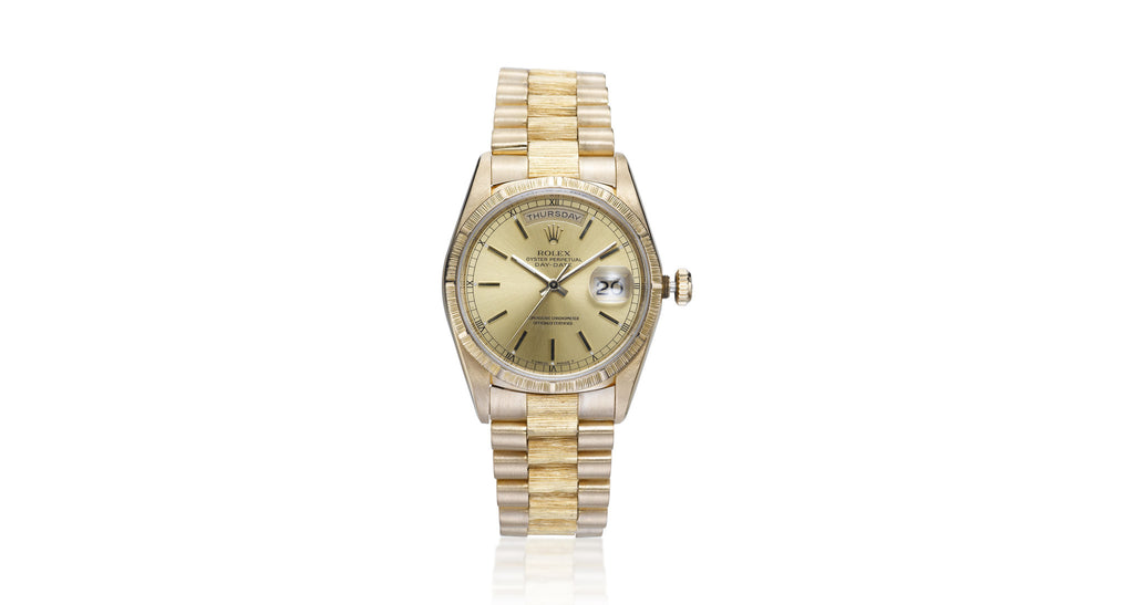 Rolex 'President' Gold Bark Finish Day/Date Watch