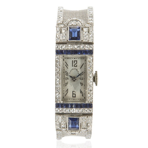 Art Deco Diamond & Sapphire Platinum Watch