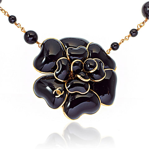 Poured Glass Black Camellia Flower Belt / Necklace with Interlocking 'C' Charm