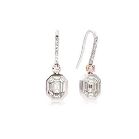 Octagon Diamond Drop Earrings with Pink Diamond Accents