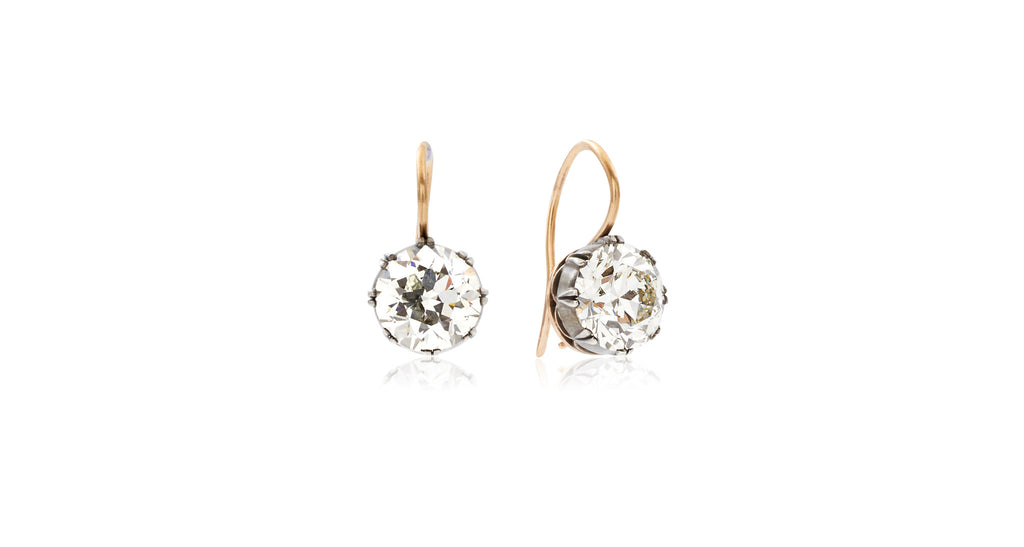 Victorian Rose Gold Diamond Drop Earrings
