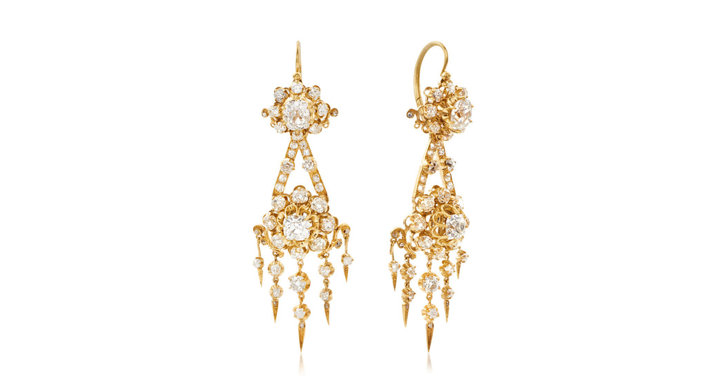 French Antique Diamond Chandelier (Convertible) Earrings