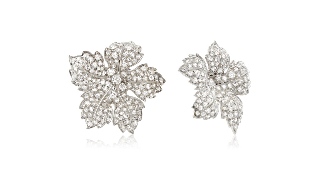 Mid-Century Pavé Diamond Flower Earrings