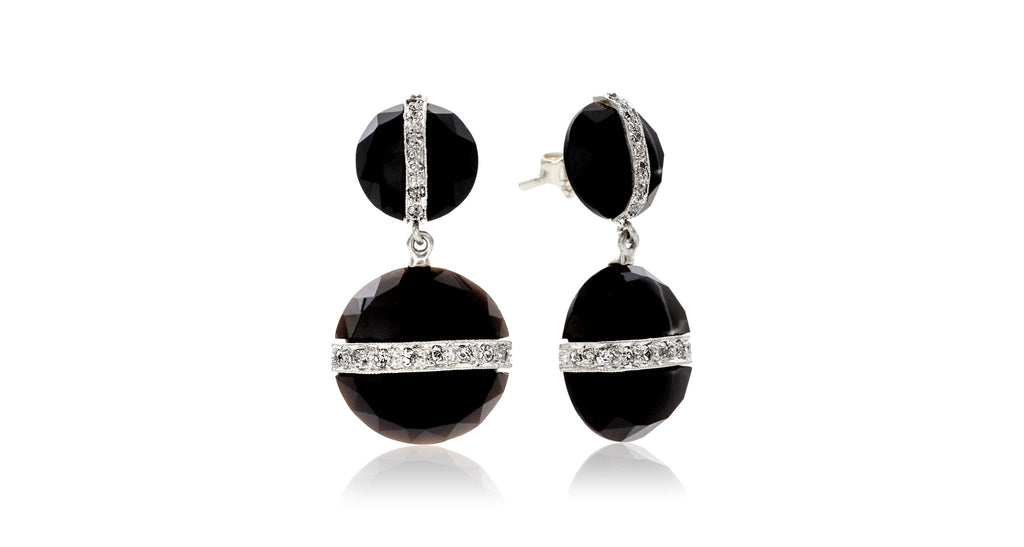 French Faceted Onyx & Diamond Deco Earrings