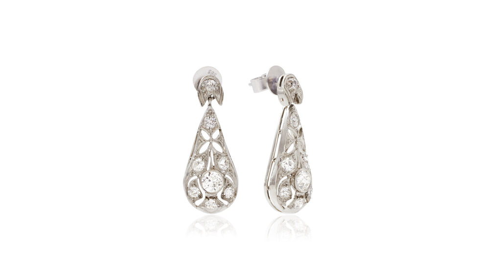 Antique Platinum & Diamond Deco Drop Earrings