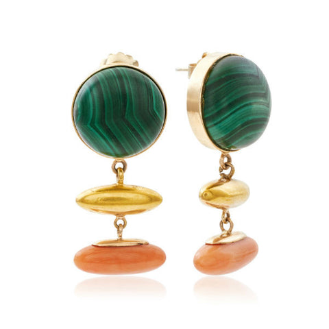 Gold Malachite & Coral Modernist Earrings