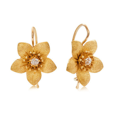 Art Nouveau Gold & Diamond Flower Drop Earrings