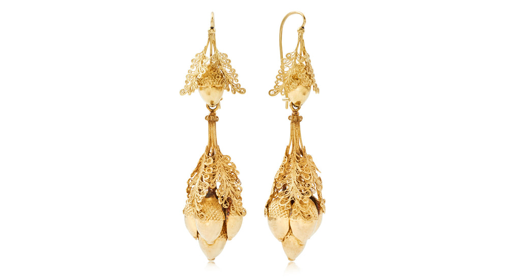 Antique Georgian Mighty Gold Acorn Dangle Earrings