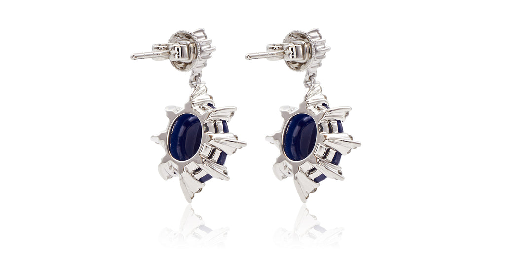 Italian Diamond & Oval Checkerboard Sapphire Earrings