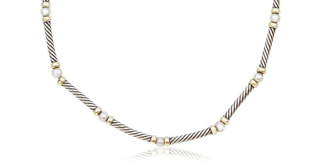 Hampton Cable Sterling & Pearl Choker Necklace