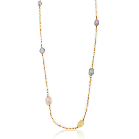 French Antique Long Yellow Gold Chain with Sapphire Beads