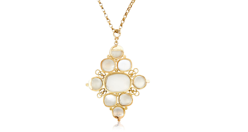 Antique Moonstone Pendant & Gold Chain Necklace