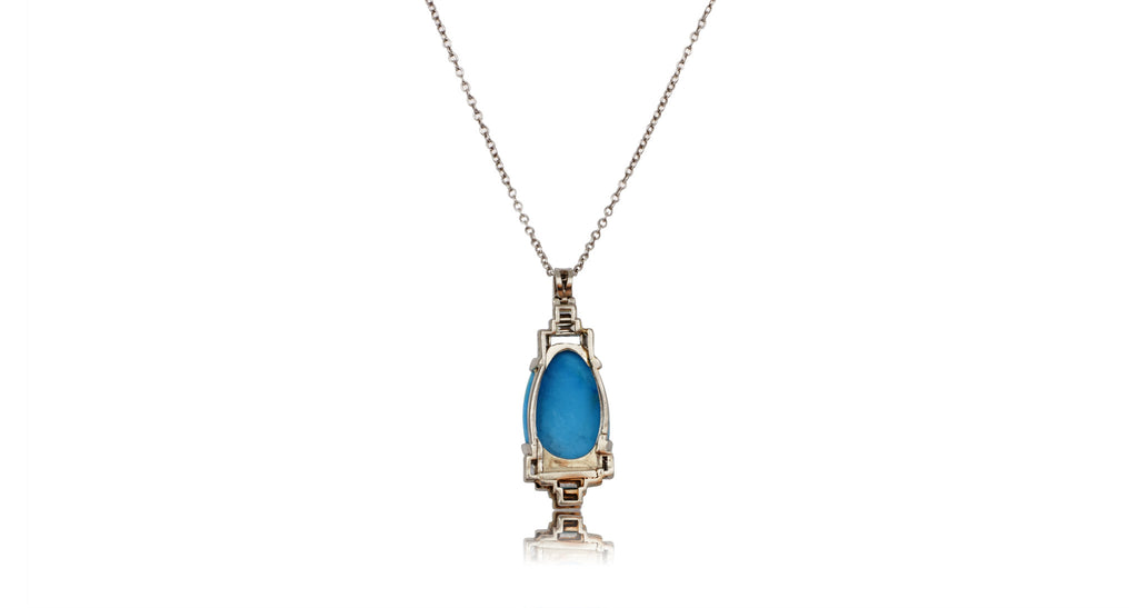 Art Deco Turquoise & Diamond Baguette Platinum Pendant Necklace