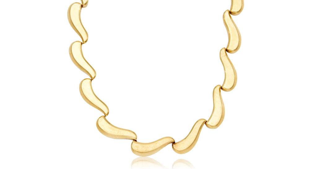 English Retro Gold Wave Necklace