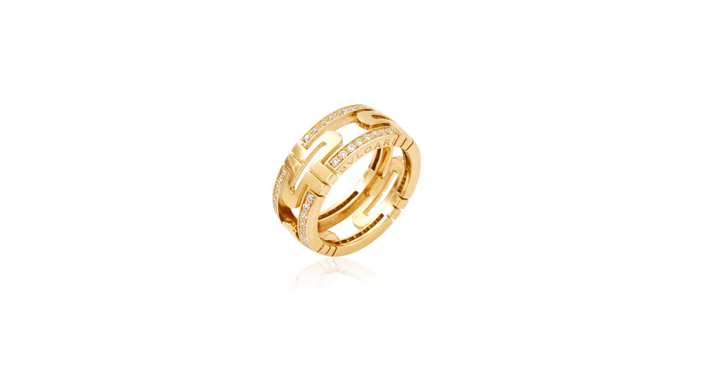 Parentesi Yellow Gold Ring with Demi Pavé Diamonds