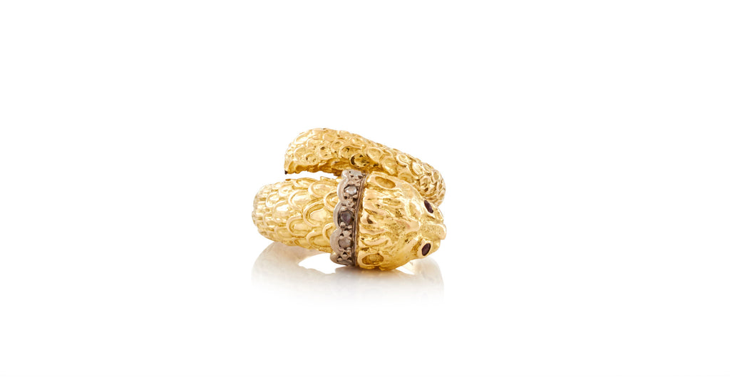 Tiger / Lion Head Gold Ring with Diamond Collars & Amethyst Eyes