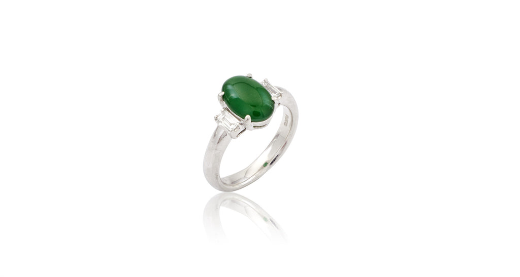 Jade Cabochon & Diamond Platinum Ring