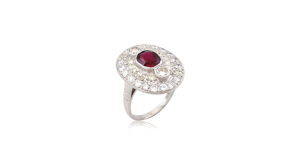 Art Deco Oval Platinum Ruby & Diamond Cluster Ring