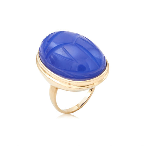 Art Deco Giant Blue Chalcedony Scarab Ring