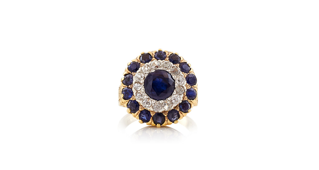 Edwardian Sapphire & Diamond Double Cluster Ring