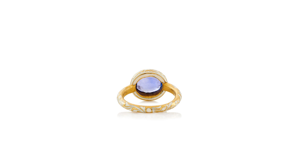 1960s Indian Gold & Enamel Natural Blue Sapphire Ring
