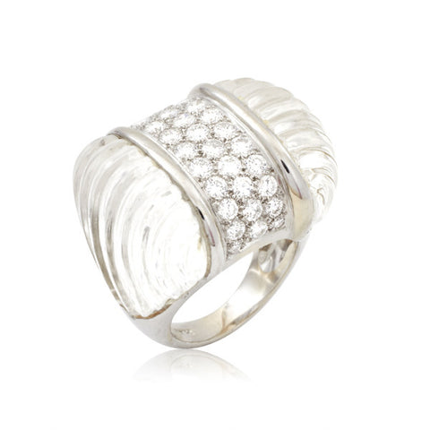 French Art Deco Rock Crystal & Diamond Ring