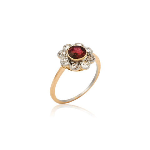 Edwardian Ruby & Diamond Flower Cluster Ring